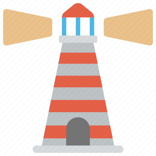 inland waterways, lighthouse, navigational aid, place pointer, sea captain navigation icon