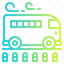 bus, passenger, school, stop, transportation icon