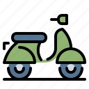 motorcycle, scooter, transportation, vespa, vintage icon