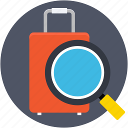 inspection, luggage, luggage scanning, magnifier, search bag icon