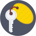 key, key tag, keychain, lock key, room key icon