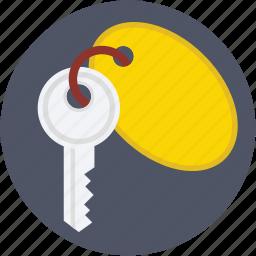 key, key tag, keychain, lock key, room key icon