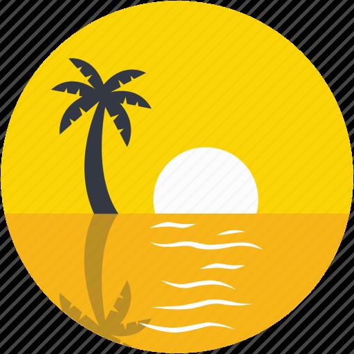 beach, palm tree, sea, seaview, sunset icon