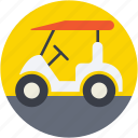 golf car, golf cart, golf motor, golf trolley, sports gear icon