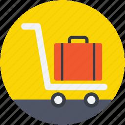 hand trolley, hotel trolley, luggage trolley, platform truck, trolley icon