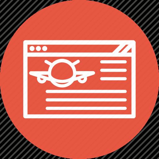 browser, flight information, internet, webpage, website icon