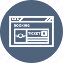 booking, browser, flight, internet, ticket booking, webpage, website icon