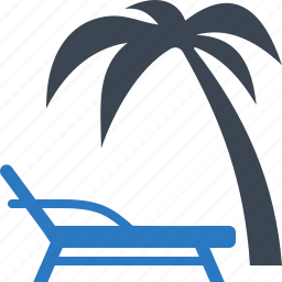 beach, holiday, palm tree, sunbed icon