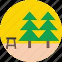 fir tree, garden, park, park bench, pine tree icon