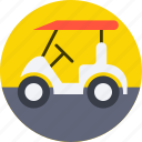 golf car, golf cart, golf motor, golf trolley, sports gear icon