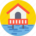 coast, flood, house, resort, sea house icon