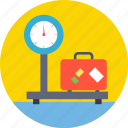 airport weighing scale, baggage scale, baggage weight, luggage bag, luggage scale icon