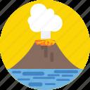 erupting, lava, molten rock, nature, volcano icon