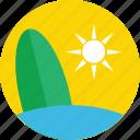 beach, summer, summertime, sun, surfboard icon
