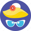 floppy hat, glasses, sunglasses, beach hat, summer hat