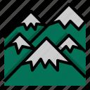 cloud, mountain, sun, travel icon