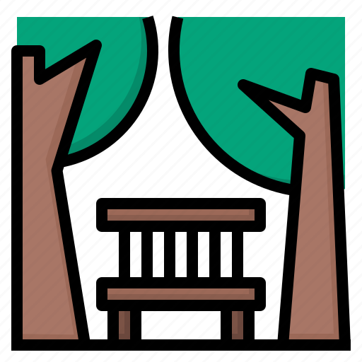 chair, park, public, relax, travel, tree icon