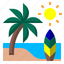 beach, coconut, sea, summer, travel icon
