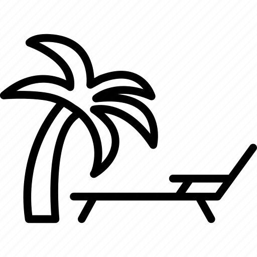 beach, palm tree, sun, sun tanning icon
