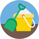 beach toys, bucket, pail, snow spade, spade icon
