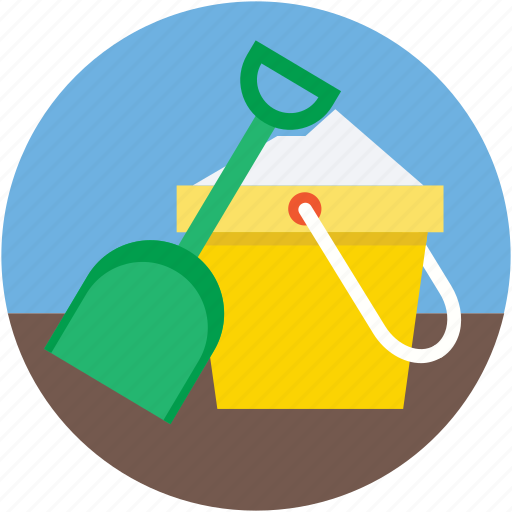 beach toys, bucket, pail, snow spade, spade icon