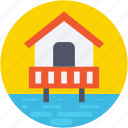 coast, flood, house, resort, sea house icon