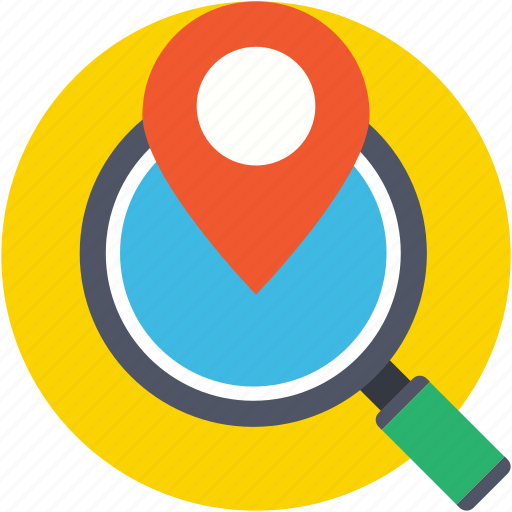 find place, magnifier, map pin, navigation, search location icon