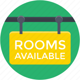hanging sign, hotel, hotel sign, rooms available, rooms signboard icon