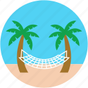 beach, hammock, hammock swing, palm hammock, palm tree icon