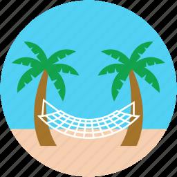 beach, hammock, hammock swing, palm hammock, palm tree icon