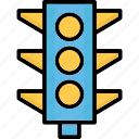 signal lights, traffic lamps, traffic lights, traffic semaphore icon