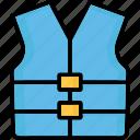 cork jacket, jacket, life jacket, life vest icon