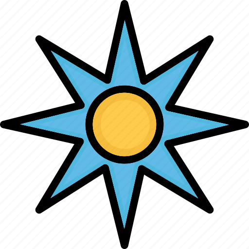 cardinal points, compass, compass rose, rose of winds icon