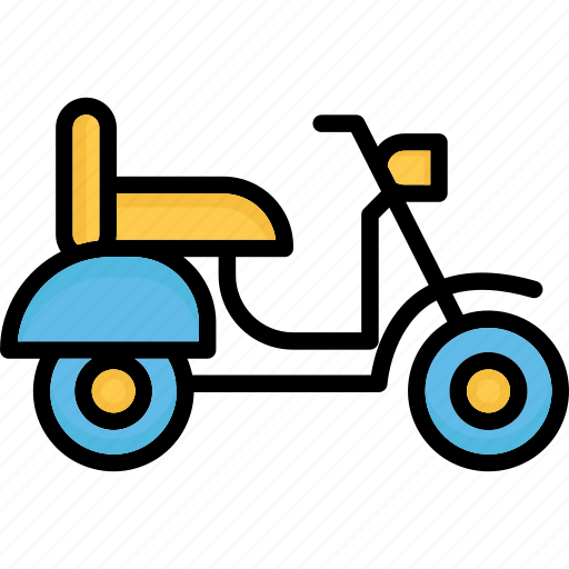 motor scooter, scooter, transport, travel icon