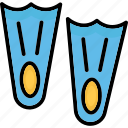 diving, diving fins, scuba fins, swimming fins icon