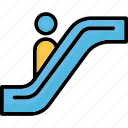 downstairs, escalator, moving stairs, staircase icon