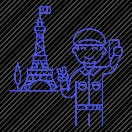 eifel, eiffel, france, holiday, male, paris, selfie, tourist, tower, travel, travelers, vacation icon