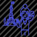 eifel, eiffel, female, france, holiday, paris, selfie, tourist, tower, travel, travelers, vacation icon