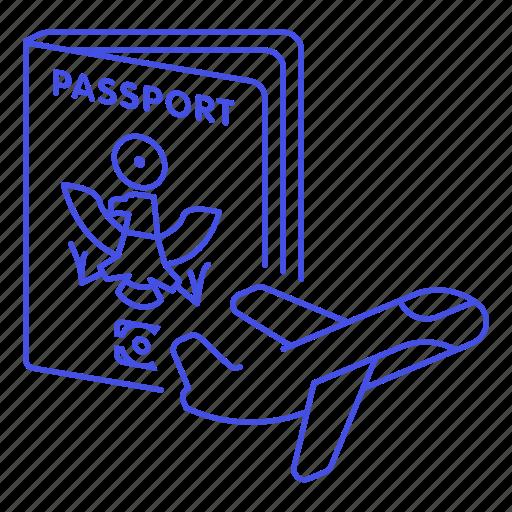 1, abroad, airplane, flight, fligt, international, journey, overseas, passport, travel, trip icon