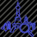 destination, eiffel, info, landmark, landmarks, location, magnifier, paris, places, search, tower, travel icon