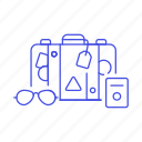 baggage, briefcase, journey, luggage, packing, passport, suitcase, sunglasses, travel, trip icon