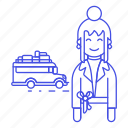 adventure, bus, female, holiday, journey, luggage, road, tourist, travel, travelers, trip, vacation icon