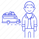 adventure, bus, holiday, journey, luggage, male, road, tourist, travel, travelers, trip, vacation icon