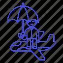 airplane, coverage, flight, insurance, journey, male, plane, travel, trip, umbrella icon