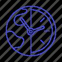 clock, difference, globe, half, offset, planet, standard, time, travel, utc, world, zone icon