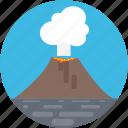 volcano, erupting, molten rock, lava, nature