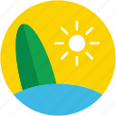 beach, summer, summertime, sun, surfboard icon