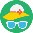 beach hat, floppy hat, glasses, summer hat, sunglasses icon