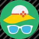 summer hat, beach hat, sunglasses, floppy hat, glasses