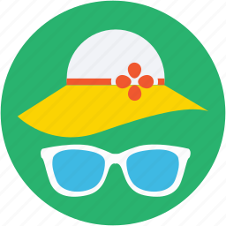 beach hat, floppy hat, glasses, summer hat, sunglasses icon